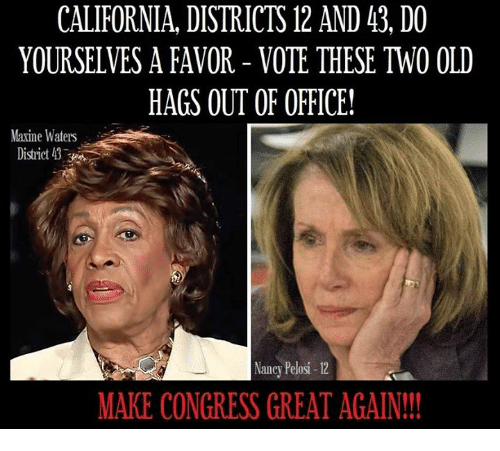 Memes, California, and Office: CALIFORNIA, DISTRICTS 12 AND 43, DO  YOURSELVES A FAVOR - VOTE THESE TWO OLD  HAGS OUT OF OFFICE!  Maxine Waters  District  Nancy Pelosi-12  MAKE CONGRESS GREAT AGAIN!