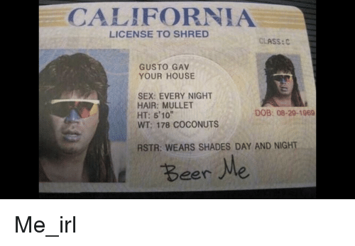 08-29-1969 Rstr Classc 178 Meme me Shades Wt Every Hair Sex Beer House Coconuts Your License Wears Me And 5'10 To Ht Shred Night Mullet Me California On Gusto Dob Gav Day