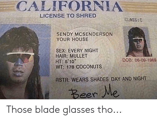 Beer, Blade, and Reddit: CALIFORNIA  LICENSE TO SHRED  GLASS:C  SENDY MCSENDERSON  YOUR HOUSE  SEX: EVERY NIGHT  HAIR: MULLET  HT: 510  WT: 178 COCONUTS  DOB: 08-09-1969  RSTR: WEARS SHADES DAY AND NIGHT  Beer Me Those blade glasses tho...