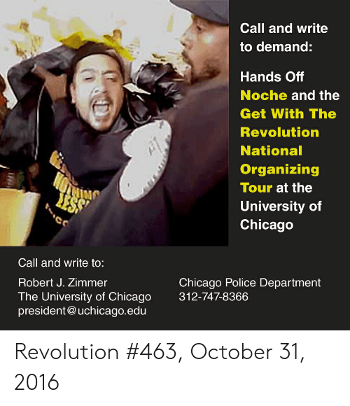 Call and Write to Demand Hands Off Noche and the Get With