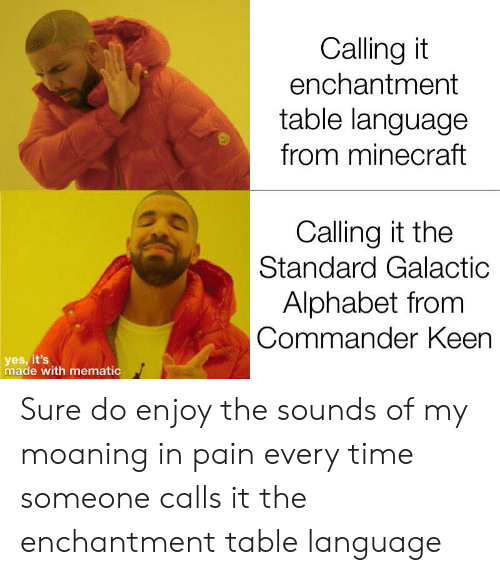 Calling It Enchantment Table Language From Minecraft Calling It The Standard Galactic Alphabet From Commander Keen Yes It S Made With Mematic Sure Do Enjoy The Sounds Of My Moaning In Pain Every