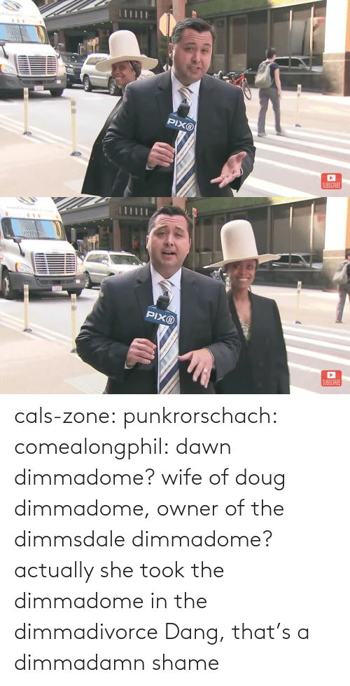 Doug, Tumblr, and Blog: cals-zone: punkrorschach:  comealongphil: dawn dimmadome? wife of doug dimmadome, owner of the dimmsdale dimmadome?  actually she took the dimmadome in the dimmadivorce     Dang, that's a dimmadamn shame