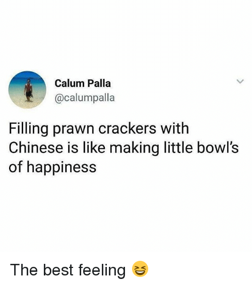 Memes, Best, and Chinese: Calum Palla  @calumpalla  Filling prawn crackers with  Chinese is like making little bowl's  of happiness The best feeling 😆