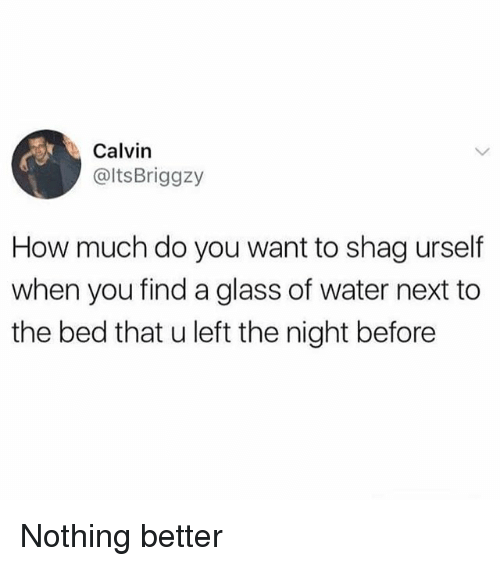Funny, Water, and How: Calvin  @ltsBriggzy  How much do you want to shag urself  when you find a glass of water next to  the bed that u left the night before Nothing better