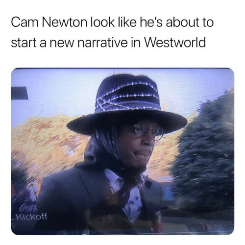 Cam Newton, Cam, and Newton: Cam Newton look like he's about to  start a new narrative in Westworld  Coca  Kickoff  EWTON  LO