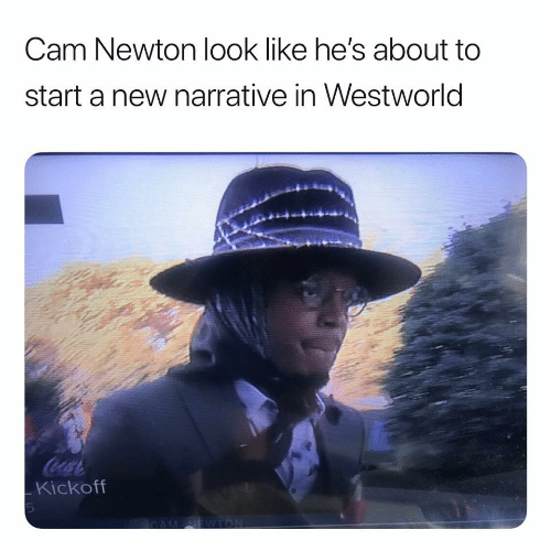 Cam Newton, Cam, and Newton: Cam Newton look like he's about to  start a new narrative in Westworld  CocaC  Kickoff  EWTON  CAM