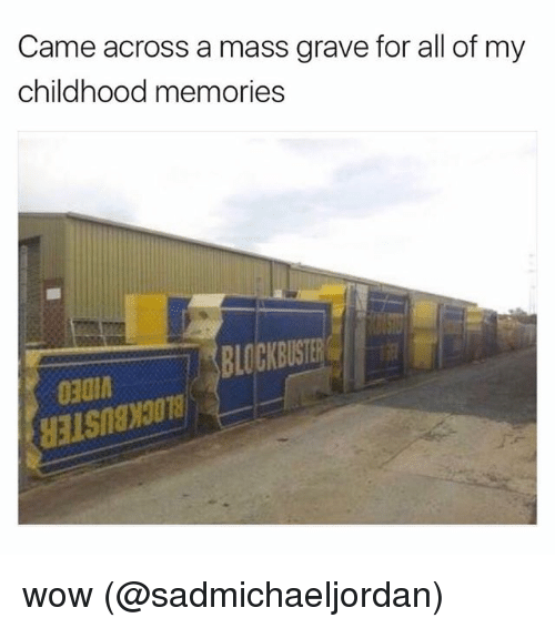 Memes, Wow, and 🤖: Came across a mass grave for all of my  childhood memories  BLOCKBUST  030 wow (@sadmichaeljordan)