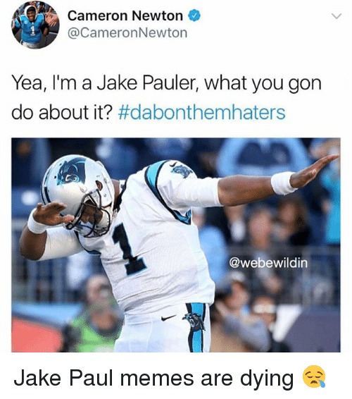 Memes, Dank Memes, and Jake Paul: Cameron Newton  @CameronNewton  Yea, I'm a Jake Pauler, what you gon  do about it? #dabonthemhaters  @webewildin Jake Paul memes are dying 😪