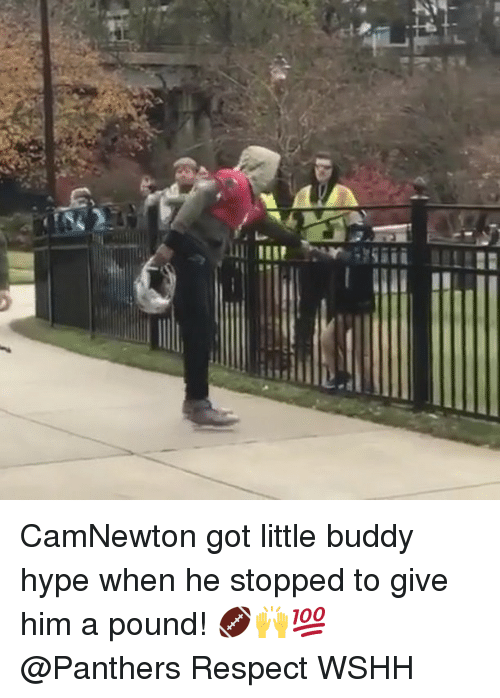 Hype, Memes, and Respect: CamNewton got little buddy hype when he stopped to give him a pound! 🏈🙌💯 @Panthers Respect WSHH