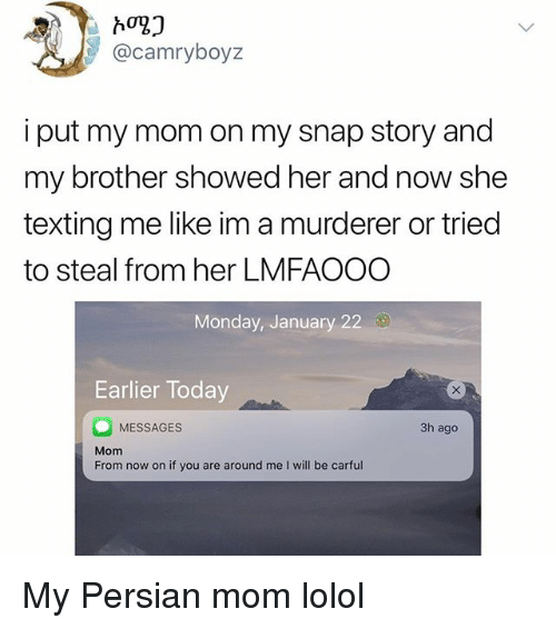 Memes, Texting, and Today: @camryboyz  i put my mom on my snap story and  my brother showed her and now she  texting me like im a murderer or tried  to steal from her LMFAOOO  Monday, January 22  Earlier Today  MESSAGES  Mom  From now on if you are around me I will be carful  3h ago My Persian mom lolol