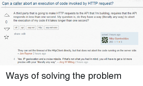 Can a Caller Abort an Execution of Code Invoked by HTTP