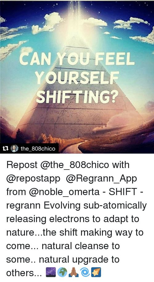 Memes, Evolve, and 🤖: CAN FEEL  YOURSEL  SHIFTING?  ti the 808chico Repost @the_808chico with @repostapp ・・・ @Regrann_App from @noble_omerta - SHIFT - regrann Evolving sub-atomically releasing electrons to adapt to nature...the shift making way to come... natural cleanse to some.. natural upgrade to others... 🌌🌍🙏🏾🌀🌠