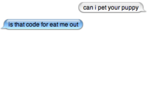 Puppy, Code, and Can: can i pet your puppy  is that code for eat me out