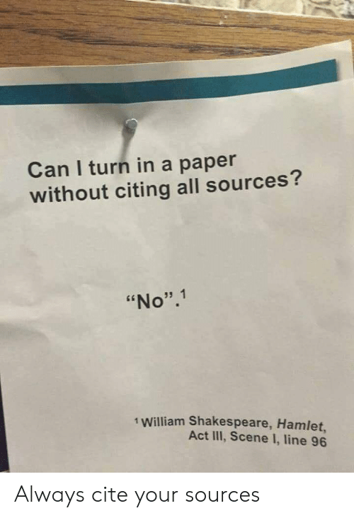 """Hamlet, Shakespeare, and William Shakespeare: Can I turn in a paper  without citing all sources?  """"No"""".1  1 William Shakespeare, Hamlet,  Act III, Scene I, line 96 Always cite your sources"""