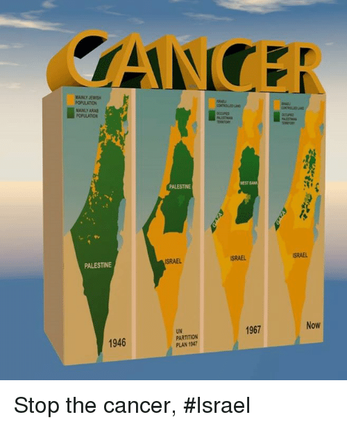 Memes, Cancer, and Israel: CAN  MANLY JEWISH  MAINLY ARAB  POPULATION  PALESTINE  NEST BAN  ISRAEL  ISRAEL  SRAEL  PALESTINE  1967  Now  UN  PARTITION  PLAN 1947  1946 Stop the cancer, #Israel