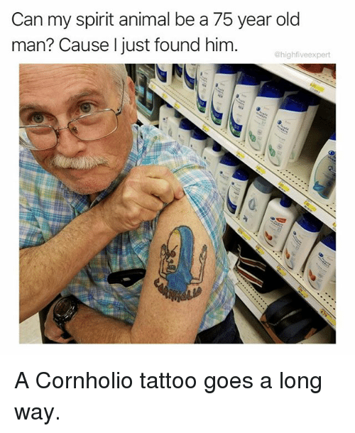 Memes, Old Man, and Animal: Can my spirit animal be a 75 year old  man? Cause I just found him  @highfiveexpert A Cornholio tattoo goes a long way.