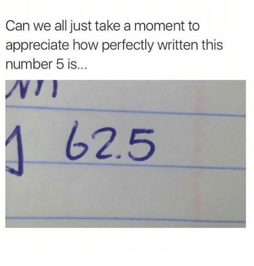 Memes, Appreciate, and 🤖: Can we all just take a moment to  appreciate how perfectly written this  number 5 is...  62.5