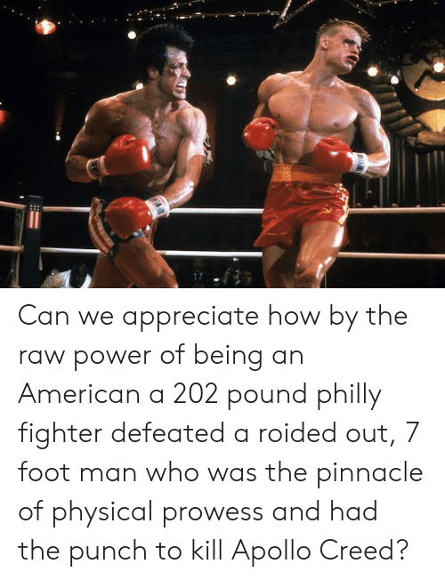 American, Apollo, and Appreciate: Can we appreciate how by the raw power of being an American a 202 pound philly fighter defeated a roided out, 7 foot man who was the pinnacle of physical prowess and had the punch to kill Apollo Creed?