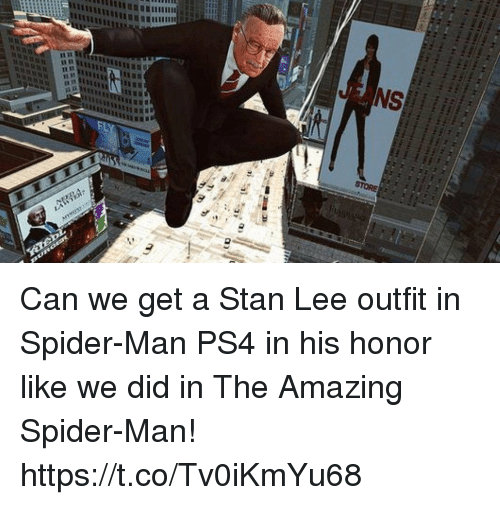 Ps4, Spider, and SpiderMan: Can we get a Stan Lee outfit in Spider-Man PS4 in his honor like we did in The Amazing Spider-Man! https://t.co/Tv0iKmYu68