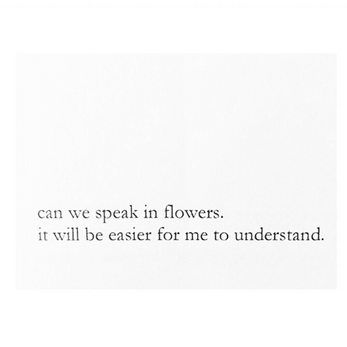 Flowers, Can, and Will: can we speak in flowers  it will be easier for me to understand.