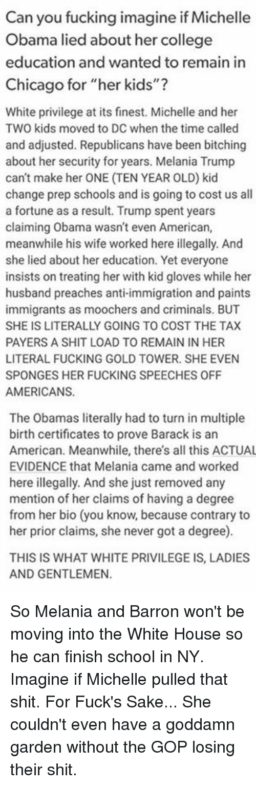 Can You Fucking Imagine If Michelle Obama Lied About Her College