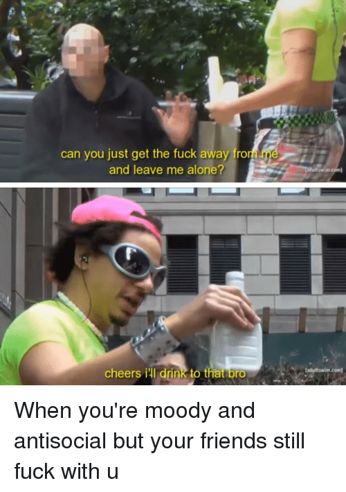 Drinking, Friends, and Fucking: can you just get the fuck away fro  and leave me alone?  cheers iul drink to that  bro  duitswim.c  adult swim com When you're moody and antisocial but your friends still fuck with u
