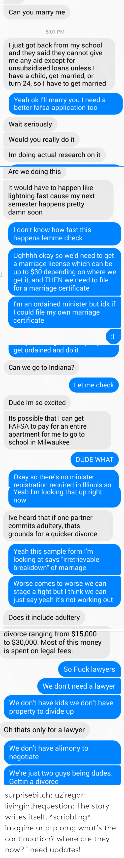 "Dude, Fafsa, and Lawyer: Can you marry me  5:01 PM  I just got back from my school  and they said they cannot give  me any aid except for  unsubsidised loans unless l  have a child, get married, or  turn 24, so I have to get married  Yeah ok I'll marry you I need a  better fafsa application too  Wait seriously  Would you really do it  Im doing actual research on it   Are we doing this  It would have to happen like  lightning fast cause my next  semester happens pretty  damn soon  I don't know how fast this  happens lemme check  Ughhhh okay so we'd need to get  a marriage license which can be  up to $30 depending on where we  get it, and THEN we need to file  for a marriage certificate  I'm an ordained minister but idk if  I could file my own marriage  certificate   get ordained and do it  Can we go to Indiana?  Let me check  Dude Im so excited  Its possible that I can get  FAFSA to pay for an entire  apartment for me to go to  school in Milwaukee  DUDE WHAT  Okay so there's no minister  registration required in lllinois so   Yeah I'm looking that up right  now  Ive heard that if one partner  commits adultery, thats  grounds for a quicker divorce  Yeah this sample form I'm  looking at says ""irretrievable  breakdown"" of marriage  Worse comes to worse we can  stage a fight but I think we can  just say yeah it's not working out  Does it include adultery   divorce ranging from $15,000  to $30,000. Most of this money  is spent on legal fees.  So Fuck lawyers  We don't need a lawyer  We don't have kids we don't have  property to divide up  Oh thats only for a lawyer  We don't have alimony to  negotiate  We're just two guys being dudes.  Gettin a divorce surprisebitch: uziregar:  livinginthequestion:  The story writes itself. *scribbling*  imagine ur otp  omg what's the continuation? where are they now? i need updates!"