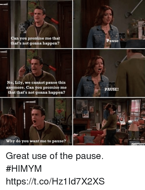 Memes, 🤖, and Himym: Can you promiise me that  that's not gonna happen?  ause  No, Lily, we cannot pause this  anymore. Can you promise me  that that's not gonna happen?  PAUSE!  -U  Why do you want me to pause? Great use of the pause. #HIMYM https://t.co/Hz1Id7X2XS
