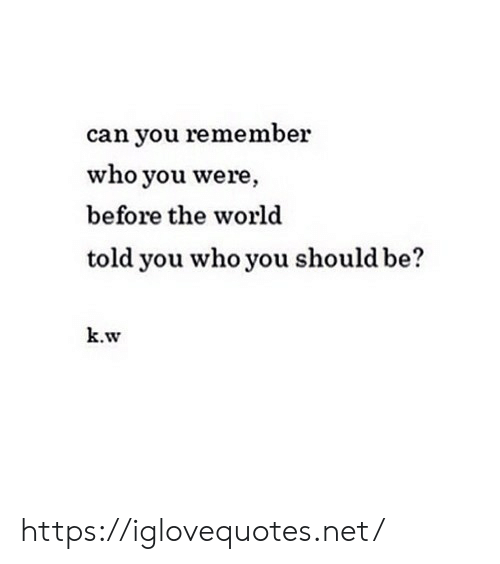 World, Net, and Who: can you remember  who you were  before the world  told you who you should b  k.w https://iglovequotes.net/