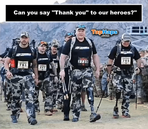 """Memes, Thank You, and Heroes: Can you say """"Thank you"""" to our heroes?""""  TapHaps  COM  705  2739  701"""