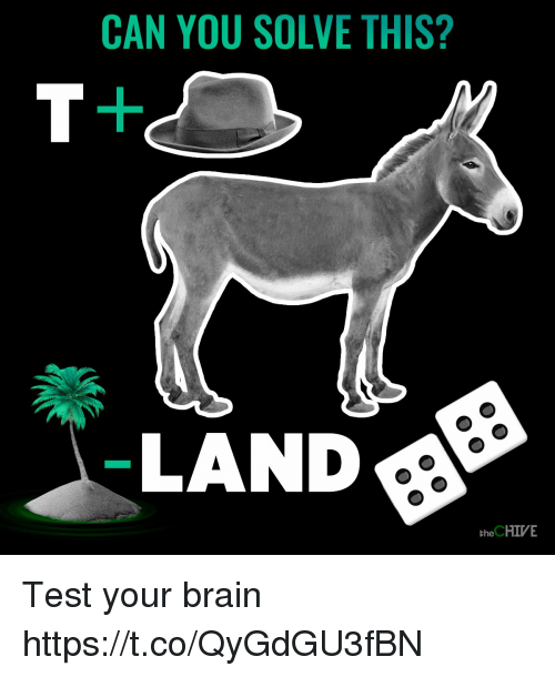 Brain, Chive, and Test: CAN YOU SOLVE THIS?  LAND  the CHIVE Test your brain https://t.co/QyGdGU3fBN