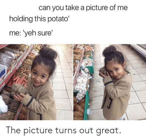 Potato, A Picture, and Can: can you take a picture of me  holding this potato'  me: 'yeh sure'  Vilh The picture turns out great.