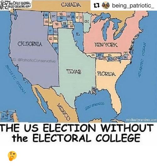 canada ti being patriotic oh calieornia new york g conservative texas florida michael pramirezcom the us election without the electoral college college