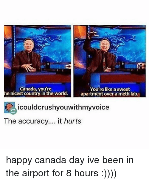 Memes, Canada, and Happy: Canada, you're  he nicest country in the world.  You're like a sweet  apartment over a meth lab.  icouldcrushyouwithmyvoice  The accuracy.... it hurts happy canada day ive been in the airport for 8 hours :))))