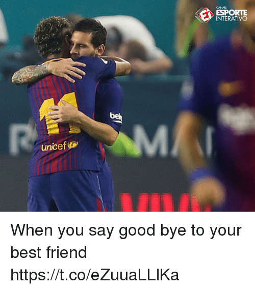 Best Friend, Memes, and Best: CANAIS  NORE  ESPORTE  INTERATIVO  bel  unicef When you say good bye to your best friend https://t.co/eZuuaLLlKa