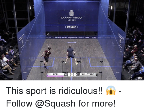 Basketball, Be Like, and Sports: CANARY WHARF  LONDON  BT  Canary wharf Squash Classic 2016  COLL This sport is ridiculous!! 😱 - Follow @Squash for more!
