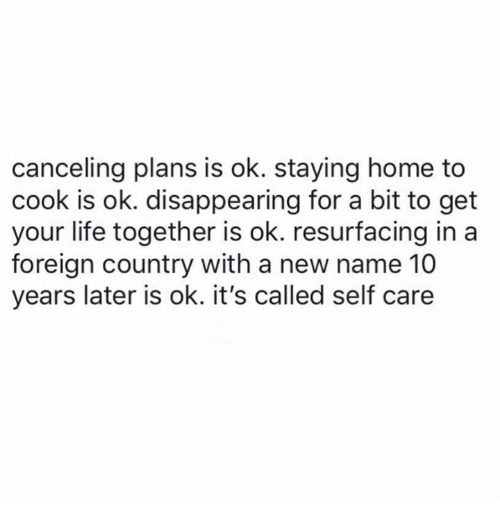 Life, Memes, and Home: canceling plans is ok. staying home to  cook is ok. disappearing for a bit to get  your life together is ok. resurfacing ina  foreign country with a new name 10  years later is ok. it's called self care