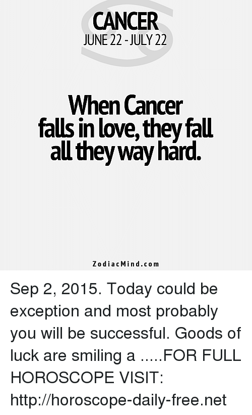 CANCER JUNE 22 -JULY 22 When Cancer Falls in Lovethey Fall
