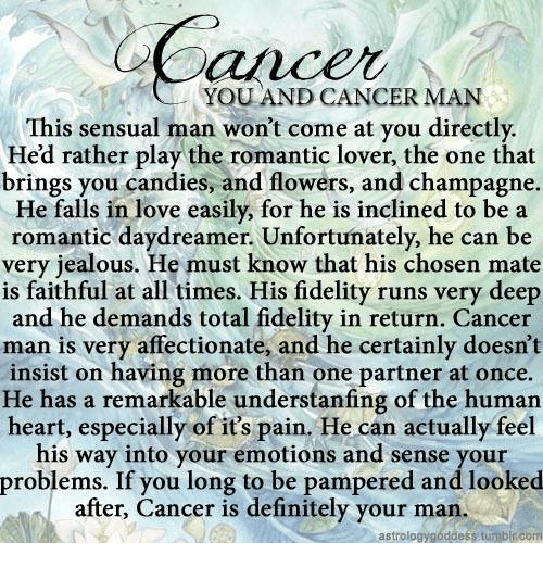 When a cancer man loves you
