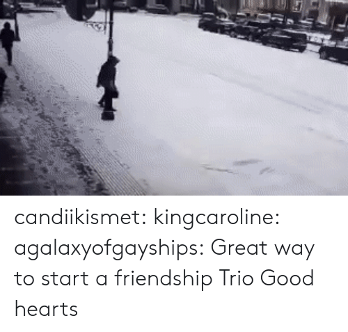 Tumblr, Blog, and Good: candiikismet: kingcaroline:  agalaxyofgayships: Great way to start a friendship   Trio   Good hearts