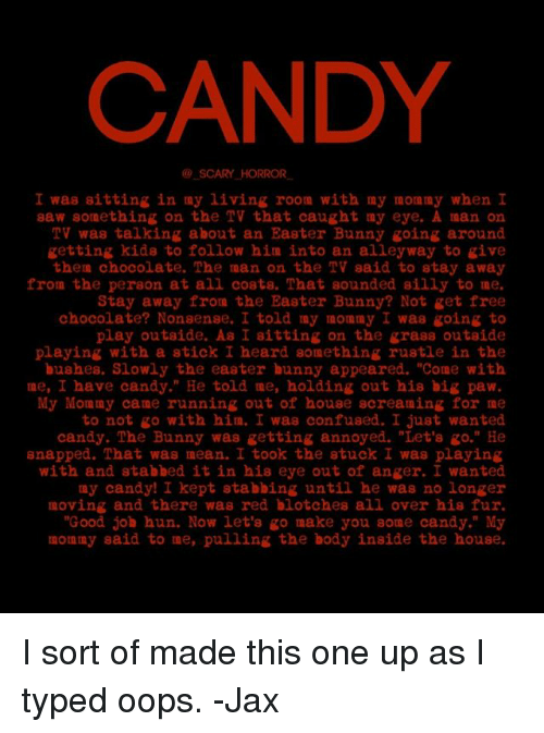 Excellent Candy Scary Horror I Was Sitting In My Living Room With My Download Free Architecture Designs Scobabritishbridgeorg