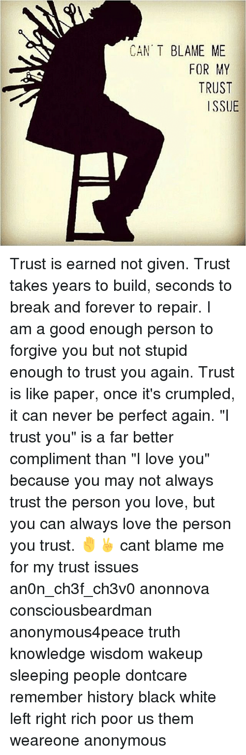 Cant Blame Me For My Trust Issue Trust Is Earned Not Given Trust