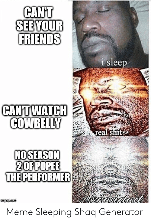 Friends, Meme, and Shaq: CANT  FRIENDS  i sleep  CANITWATCH  COWBELLY  eal shit  NOSEASON  20FPOPEE  THE PERFORMER Meme Sleeping Shaq Generator