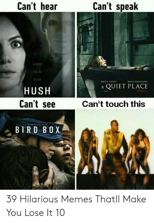 Memes, Quiet, and Hilarious: Can't hear  Can't speak  ILENCE  CAN BE  KILLER  A QUIET PLACE  HUSH  Can't see  Can't touch this  BIRD BOX 39 Hilarious Memes Thatll Make You Lose It 10