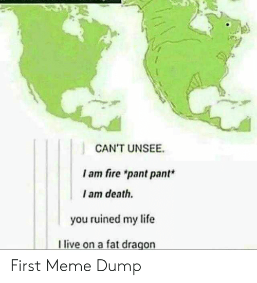 "Fire, Life, and Meme: CAN'T UNSEE  I am fire ""pant pant*  I am death.  you ruined my life  live on a fat dragon First Meme Dump"