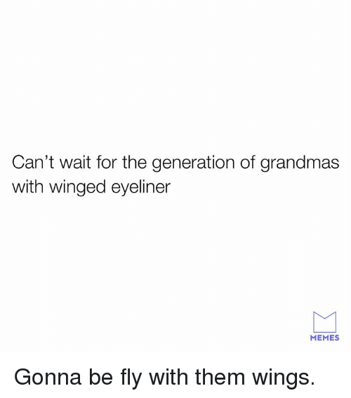 Dank, Memes, and Wings: Can't wait for the generation of grandmas  with winged eyeliner  MEMES Gonna be fly with them wings.