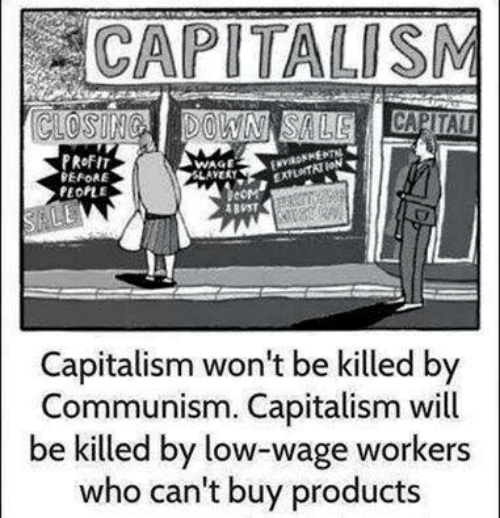Capitalism, Communism, and Who: CAPITALISM  PRoFI  EFORE  PEOPLE  WAGE  AVERT  Capitalism won't be killed by  Communism. Capitalism will  be killed by low-wage workers  who can't buy products