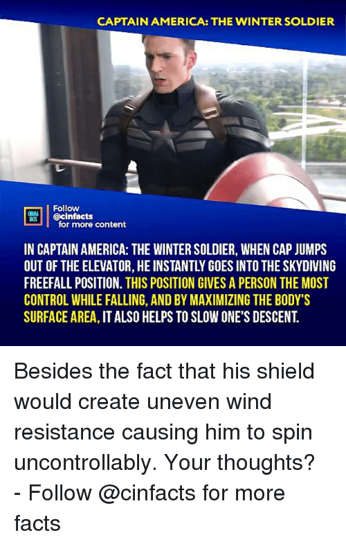 America, Facts, and Memes: CAPTAIN AMERICA: THE WINTER SOLDIER  Follow  @cinfacts  for more content  IN CAPTAIN AMERICA: THE WINTER SOLDIER, WHEN CAP JUMPS  OUT OF THE ELEVATOR, HE INSTANTLY GOES INTO THE SKYDIVING  FREEFALL POSITION. THIS POSITION GIVES A PERSON THE MOST  CONTROL WHILE FALLING, AND BY MAXIMIZING THE BODY'S  SURFACE AREA, IT ALSO HELPS TO SLOW ONE'S DESCENT. Besides the fact that his shield would create uneven wind resistance causing him to spin uncontrollably. Your thoughts?⠀ -⠀⠀ Follow @cinfacts for more facts
