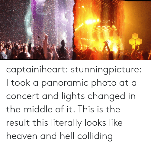 Heaven, Target, and Tumblr: captainiheart: stunningpicture:  I took a panoramic photo at a concert and lights changed in the middle of it. This is the result  this literally looks like heaven and hell colliding