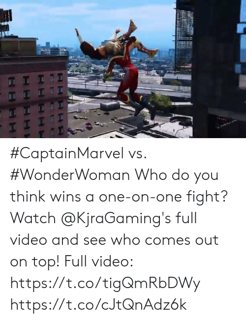 me.me: #CaptainMarvel vs. #WonderWoman  Who do you think wins a one-on-one fight? Watch @KjraGaming's full video and see who comes out on top! Full video: https://t.co/tigQmRbDWy https://t.co/cJtQnAdz6k